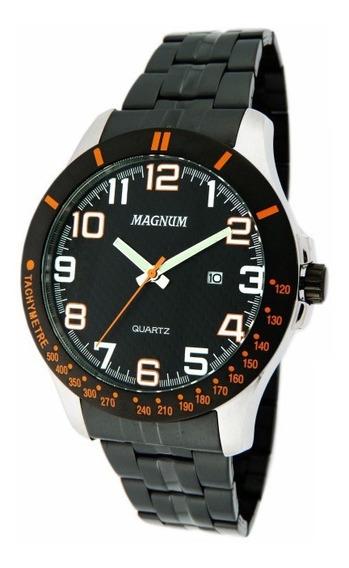 Relógio Magnum Masculino Ma32087j Em Aço Preto