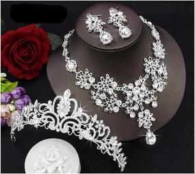Conjunto Coroa Tiara Colar Brinco Noiva 15 Anos Debutante