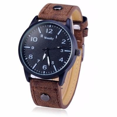 Relógio De Quartzo Com Pulseira De Couro Weesky 1203g Men