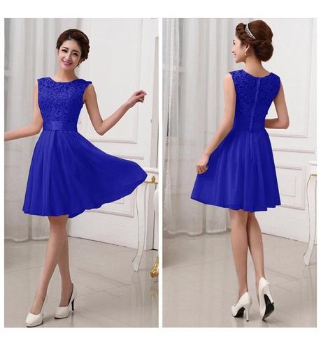Vestido Azul Oscu Fashion Bordado Chiffon+lace Fiesta Grados