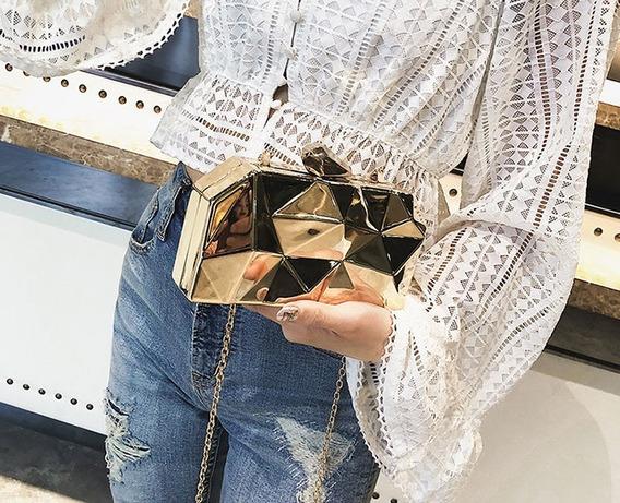 Bolsa Bag Para Festas Dourada - Hexagono De Metal