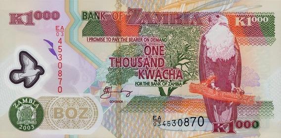 Zâmbia - 1.000 Kwacha - 2.003 - Fe - Polímero. Frete 12,