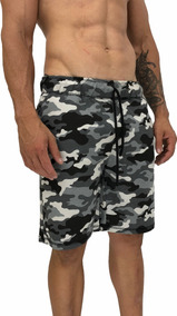 Bermuda Moletom Slim Treino Camuflado Shorts Cinza Claro