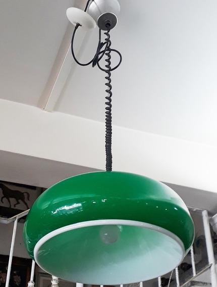 Lustre Anos 80 Verde E Branco Acrílico Com Ajuste De Altura