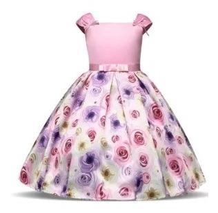 Vestido Infantil De Festa Rosa Estampado Meninas 4 8 10 Anos