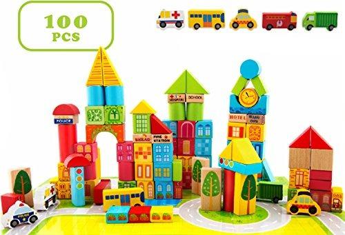 Ciudad Madera Bloques Apilamiento Set Juguetes Para Niños