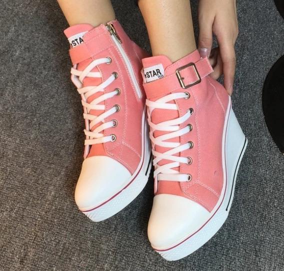Tênis Plataforma Rosa Feminino Jeans Até Tamanho 40