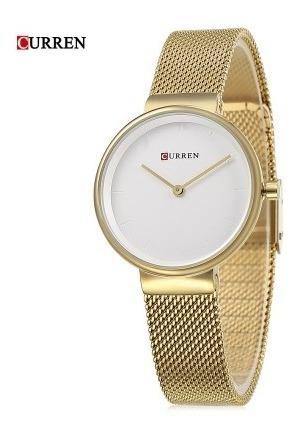Relógio De Luxo Feminino Curren 9016 Ouro Branco