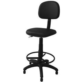 Cadeira Caixa Alta Secretária Estofada Couro Eco Preto