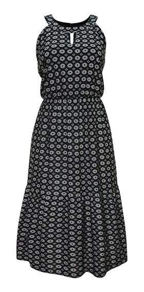 Vestido Sin Mangas Estampado Dama Mujer Negro 1400 Zoara