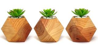 Juego De Macetas Decorativas Pequeñas Minimalistas Geometricas Madera Para Suculentas Y Plantas Artificiales Y Naturales