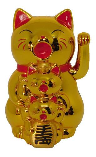 Imagen 1 de 2 de Feng Shui Gatos Lucky Dorados Con Brazo Movil (nuevo)