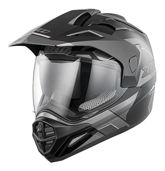 Capacete para moto cross X11 Crossover X3 cinza M