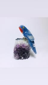 Pássaro De Pedra Na Base De Ametista Linda Decoração 10 Cm