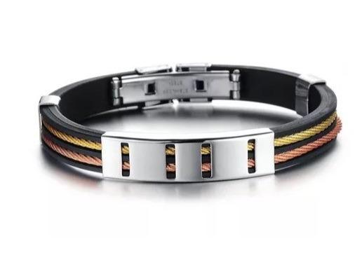 Pulseira Masculina Bracelete Silicone E Aço Inoxidável