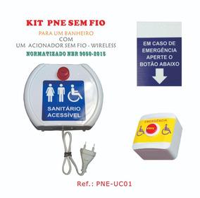 Kit Alarme Audiovisual Pne Emergência - Banheiro- Sem Fio