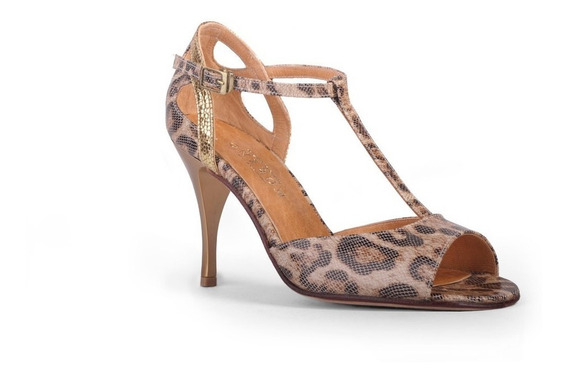 Zapatos De Tango, Salsa, Baile Animal Print Y Oro (8,5 Cm)