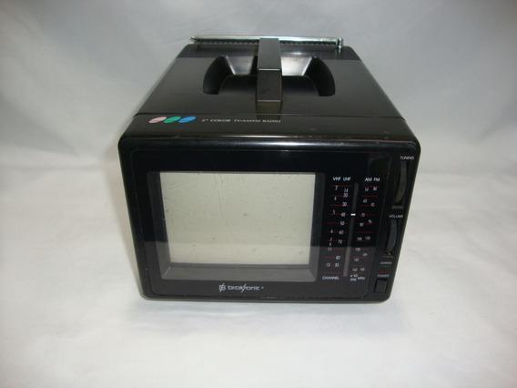 Antiga Mini Tv Televisão Broksonic 4 Polegadas Colorida