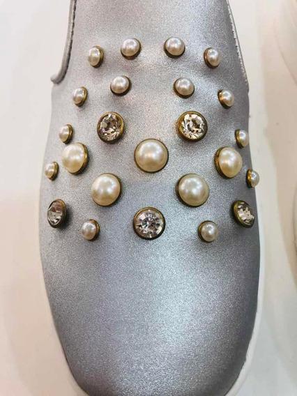 Tenis Plateados Perlas Y Cristales Moda Dama Casual Cómodos