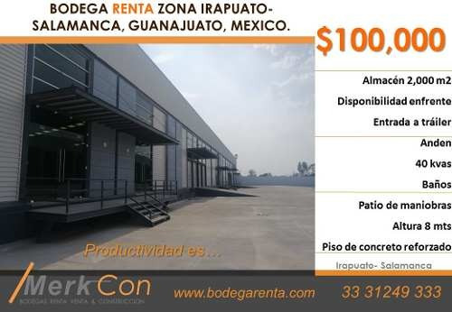Bodega Renta 2,000 M2 Zona Irapuato-salamanca, Guanajuato, Mexico