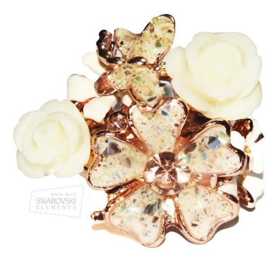 Anillo Cristales Swarovski Elements Oro Rosado Flores Ase128