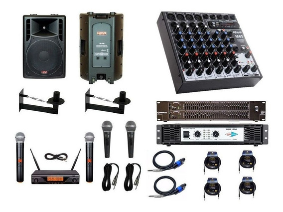 Kit Igreja 2cx15, Mesa 8c, Equalizador, Potencia + Microfone