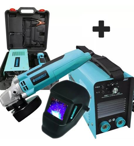 Soldadora Inverter 140a + Amoladora Electrodo Valija Energy