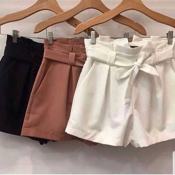 Combo 2 Shorts Clochard De Linho Cintura Alta Frete Gratis