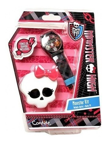 Relogio Digita Infantil Monster High Caveira + Radio Fm