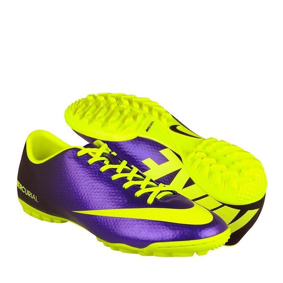 Tenis Fútbol Nike Hombre Simipiel Morado-amarillo 555615570