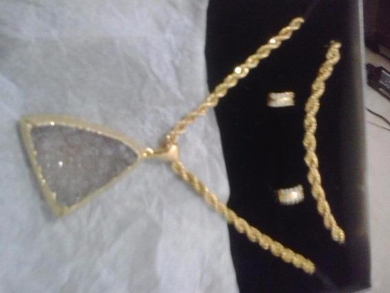 Corrente Feminina A Ouro Com Pedra Natural Brasileira