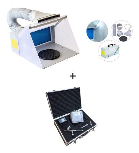 Mini Cabine Aerografia Com Led E Exaustor + Kit Aerografo