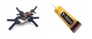 Cola T7000 Preta 110ml + Kit 4 Grampos Fixa Tela Celular