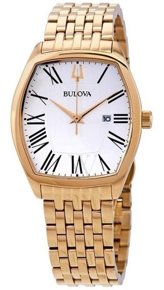 Relógio Bulova Feminino Ambassador White Dial Yellow Gold-to