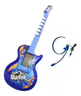 Guitarra Eléctrica Infantil Micrófono Diadema Hk-9010b