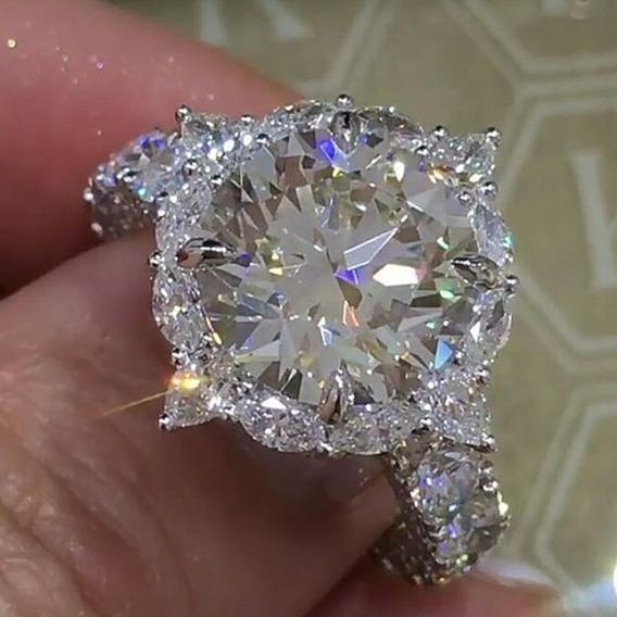 Anillo De Diamante Redondo De Incrustacin Joyera Clsic
