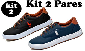 972a325be49 Kit 2 Pares - Tenis Masculino Sapato Sapatenis Polo Wey