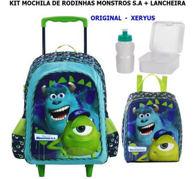 Kit Mochila De Rodinhas Monstros S.a + Lancheira Xeryus