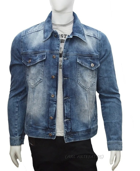 Jaqueta Jeans Preta Slim Fit Premium Masculino 6 Bolsos