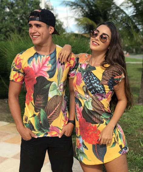 Kit Casal Conjunto Para Casal Vestido+camiseta Floral Amarel