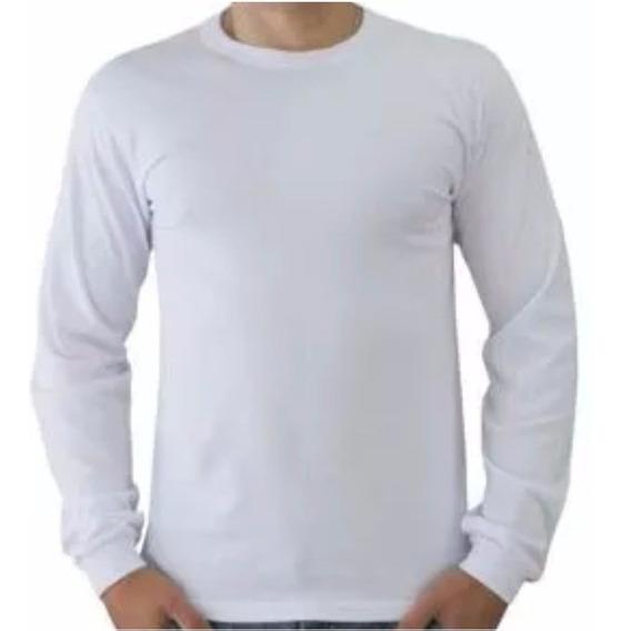 Camisetas Malha Fria Manga Longa Excelente P/estampas 01 Un.