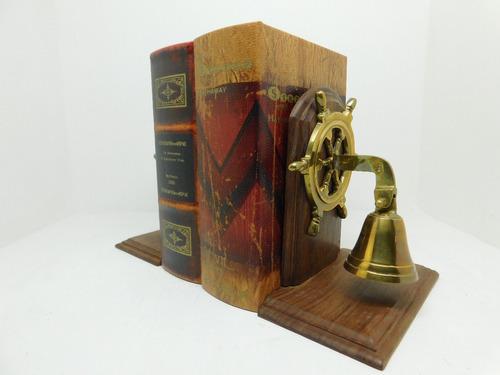 Imagen 1 de 4 de Sujeta Libros Timon De Barco Con Campana En Bronce (nuevo)