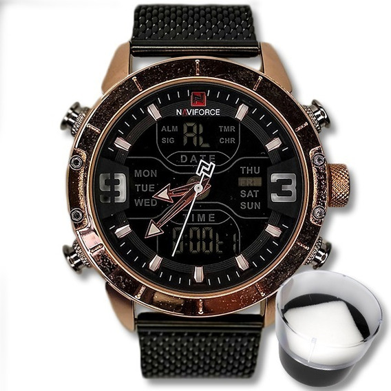 Relógio Masculino Naviforce Malha Aço Original Importado