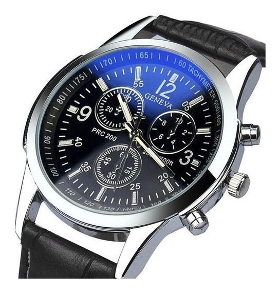 Relógio Luxo Masculino Geneva Pulso Social Pulseira De Couro