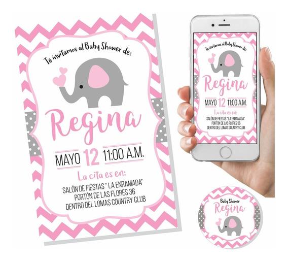 Invitación Baby Shower Elefante Niña Digital Imprimible