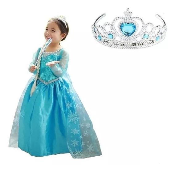 Vestido Fantasia Infantil Frozen Elsa + Coroa