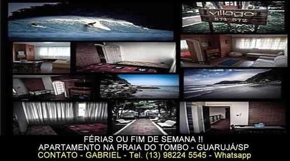 Apto Na Praia Do Tombo No Guarujá, 50m Da Praia