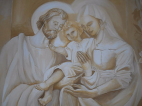 Quadro Decorativo Sagrada Familia Pintura A Mão