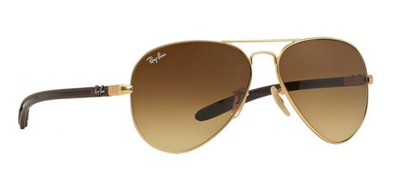 Óculos De Sol Ray-ban Aviador Modelo Rb8307 Dourado