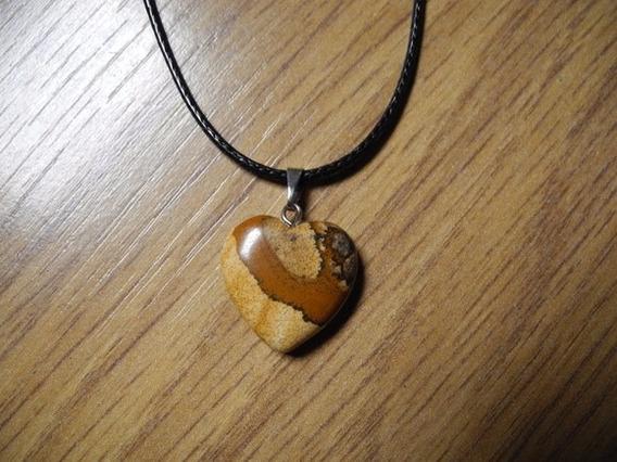 Colar Coração Pedra Natural Cordão Preto Prateado Jaspe I